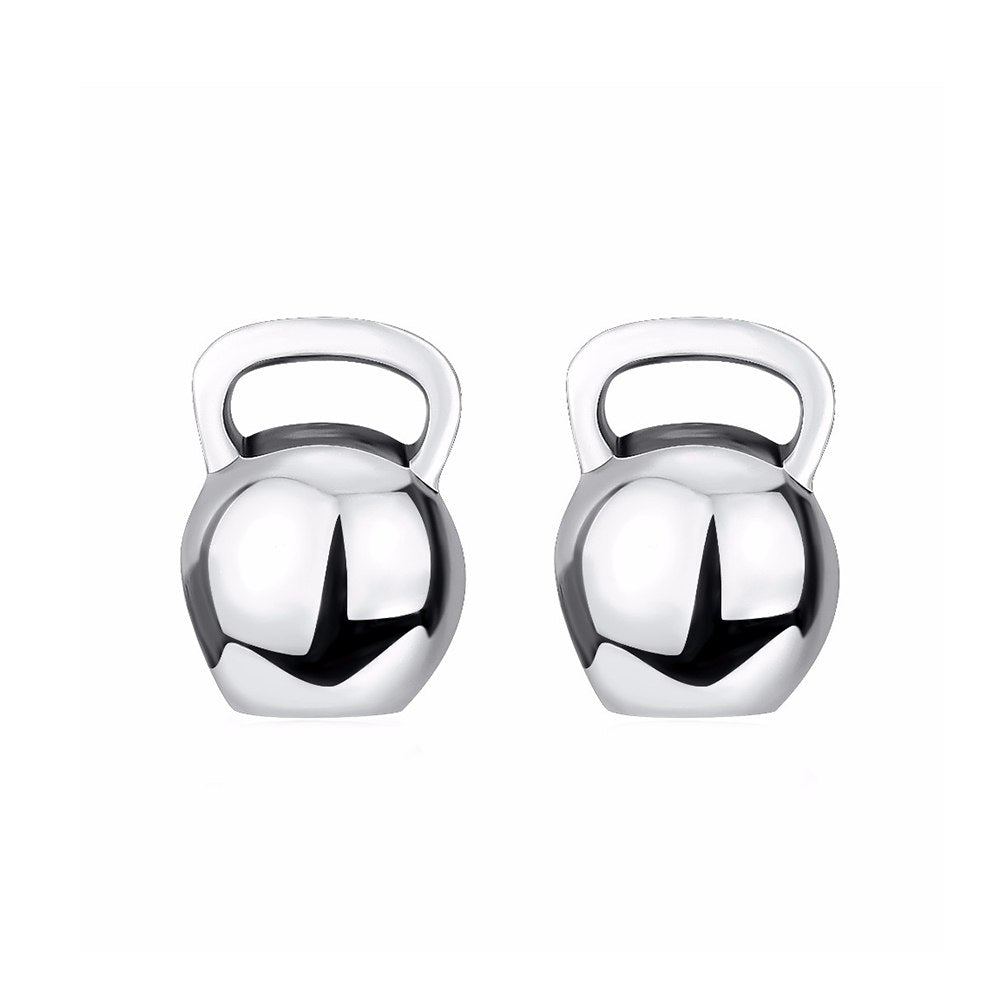 Kettlebell 925 Sterling Silver Earrings