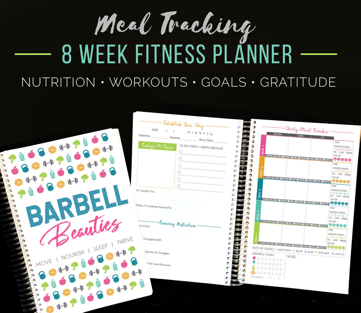 Barbell Beauties 8 Week Diet Fitness Planner, Nutrition Weight Loss Notebook