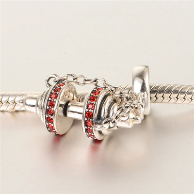 Authentic 925 Sterling silver bracelet/necklace Barbell charm