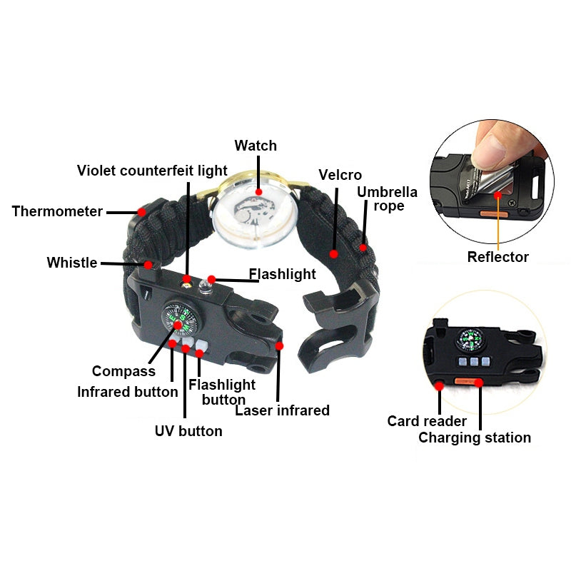 Multi function Bracelet Field Survival Watch