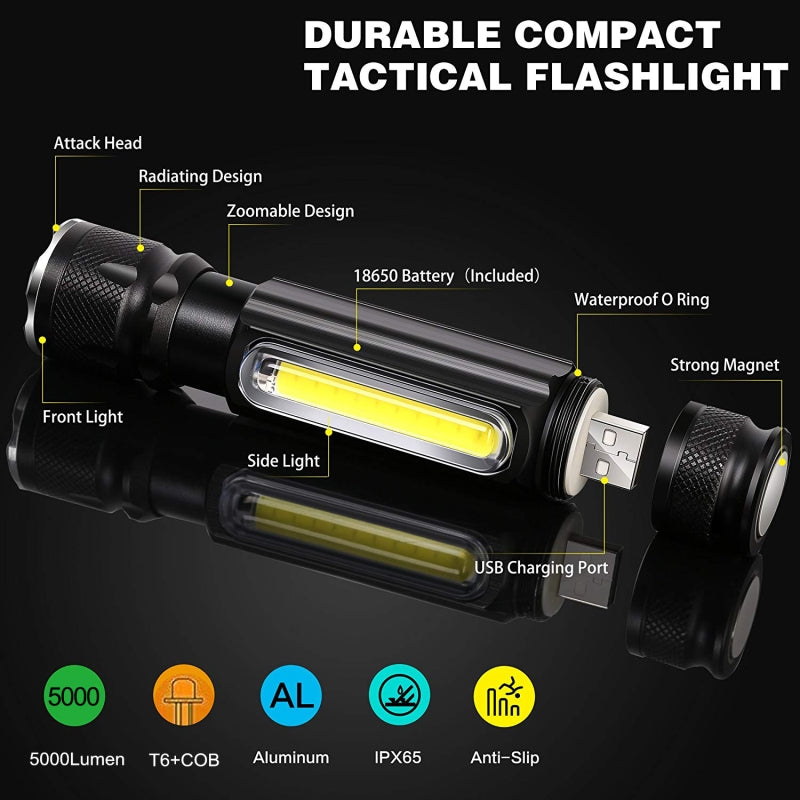 5000LM Multifunctional LED Flashlight