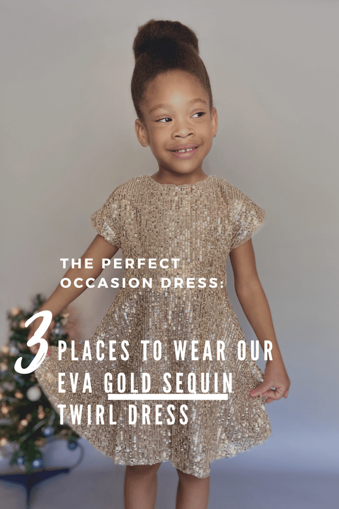 The Perfect Occasion Dress: Three places to wear our Eva Gold Sequin Twirl Dress