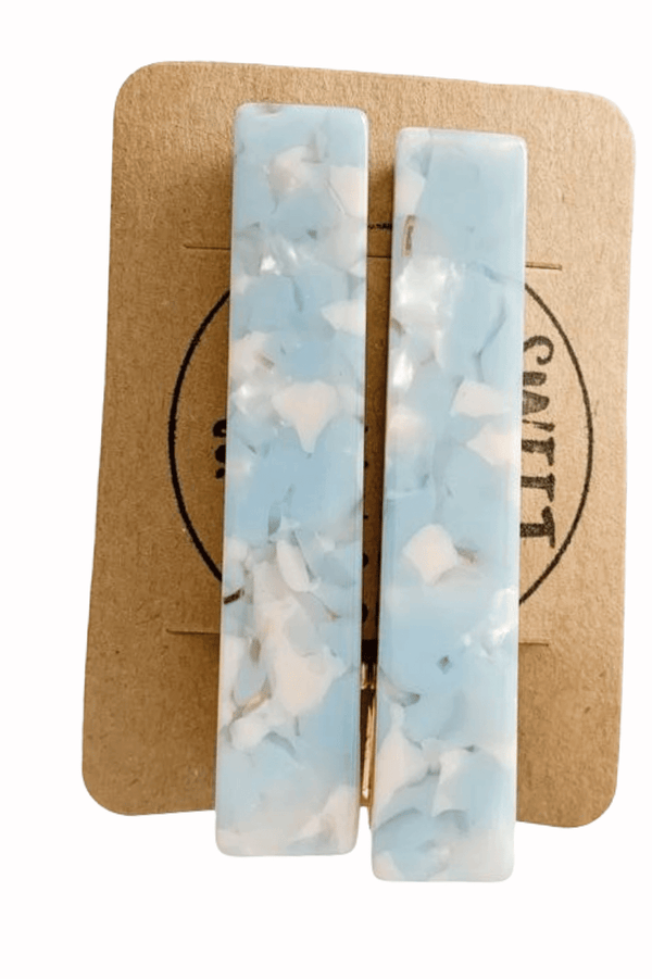 2-Piece Kids Geometric Marble Resin Alligator Hair Clips  (Rectangular )