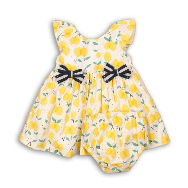 BABY LEMON DRESS  & BLOOMER SET- AMELIA (NB-12months) - Cliqq Clothing