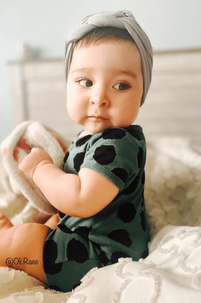 Unisex Green Infant Spottie Romper | NB-12m