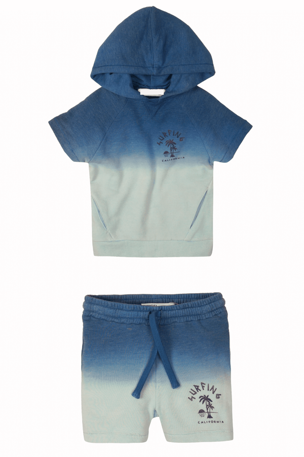 Blue Toddler Boy Tie-dye Hoodie Sweatshirt and Shorts Set