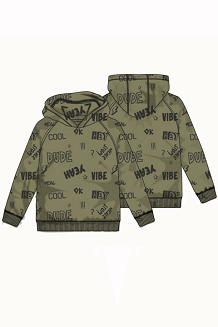 Toddler Graphic Khaki Zip-up Sweatshirt Hoodie