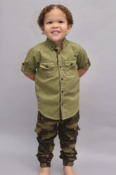 SAFARI GREEN BOY SHIRT-CAMDYN PRESLEY  (3-8years) - Cliqq Clothing