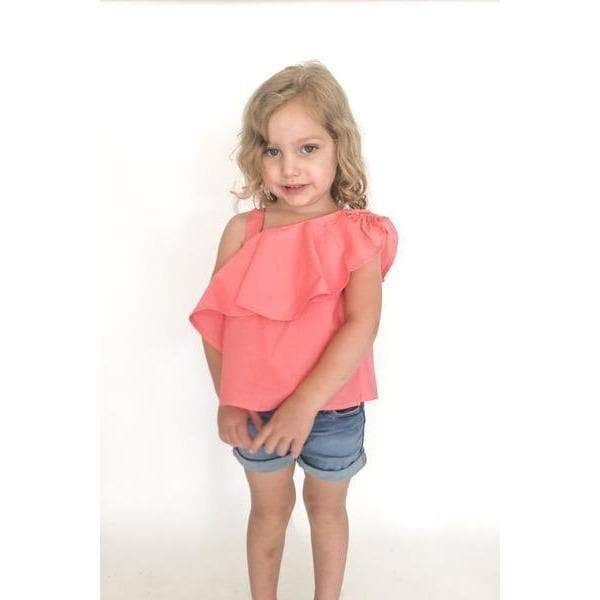 ONE SHOULDER GIRLS TOP- CORAL AVA (3-8years) - Cliqq Clothing