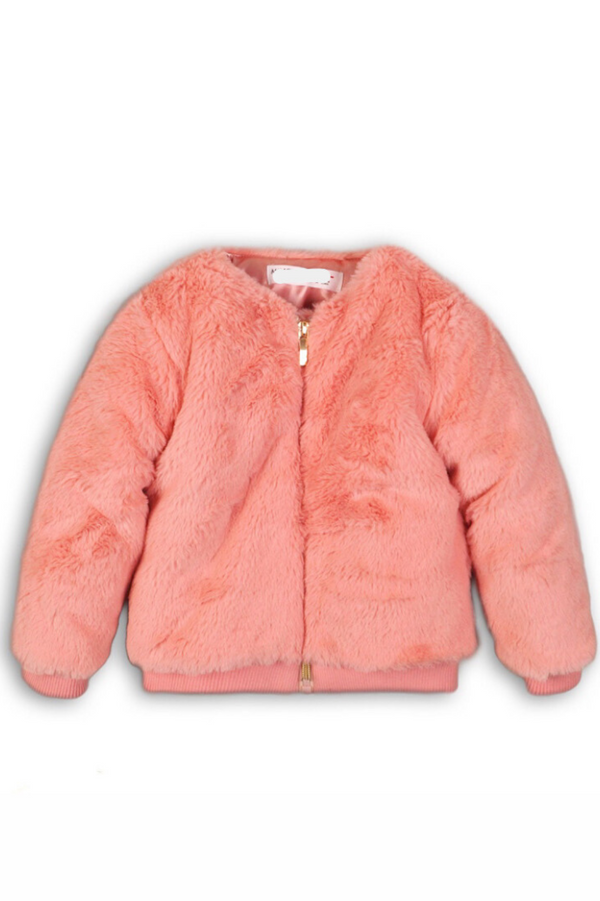 Girls Pink Faux Fur Bomber Jacket- (9m-3t) Brooklyn - Cliqq Clothing