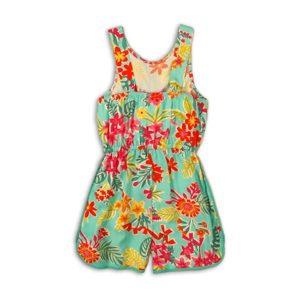 Girl's Green Tropical Floral Print Viscous Jumpsuit