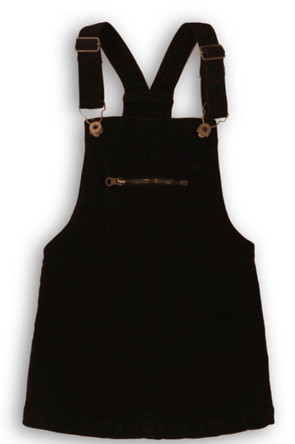 Girls Black Denim Overall Dress