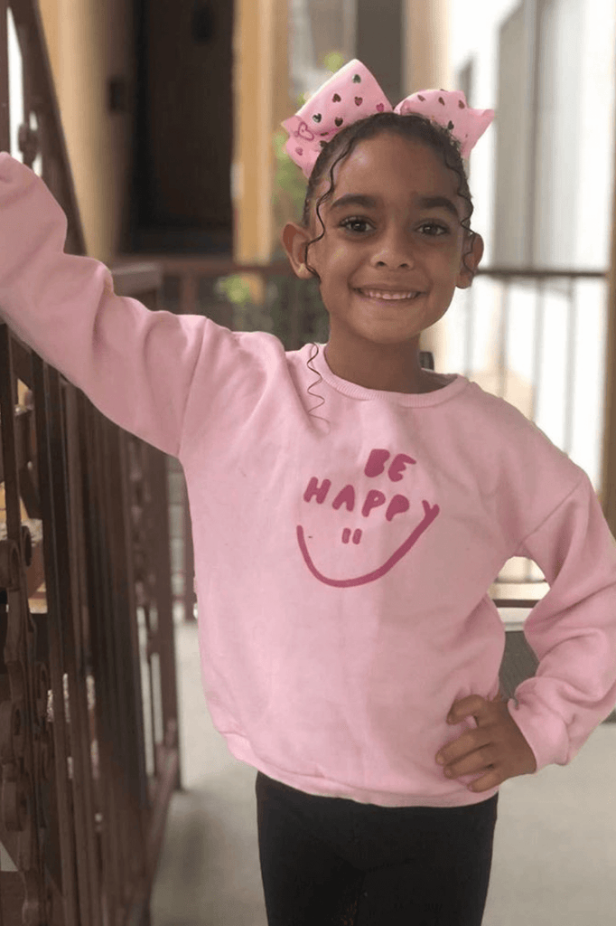 Girls Pink Pullover Crew Sweater