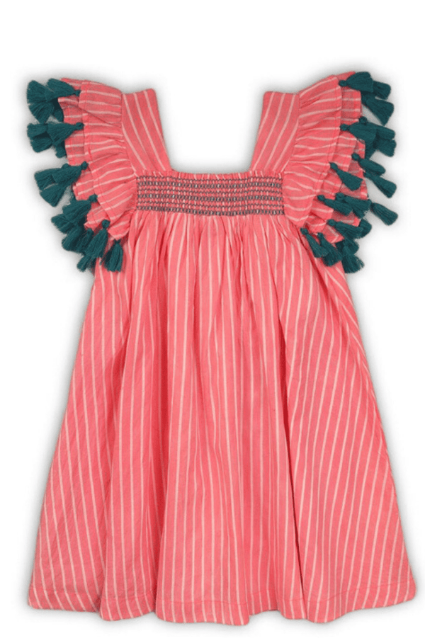 Girls Striped Tassel Trim Flared Dress