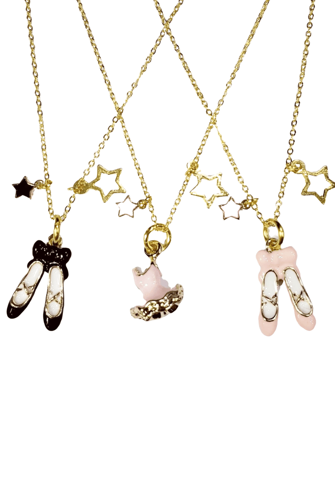 Gold Chain Ballet Charm Necklace