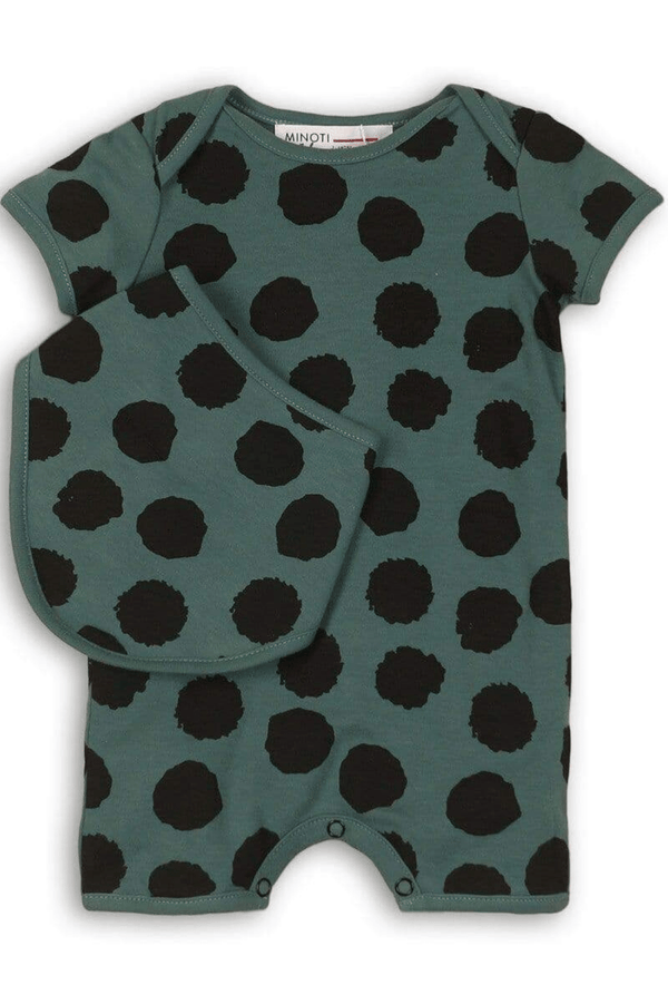 Green Infant Spottie Romper | NB-12m - Cliqq Clothing