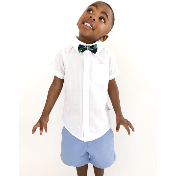 DOBBY WHITE BUTTON-DOWN SHIRT (2t-6years) - Cliqq Clothing