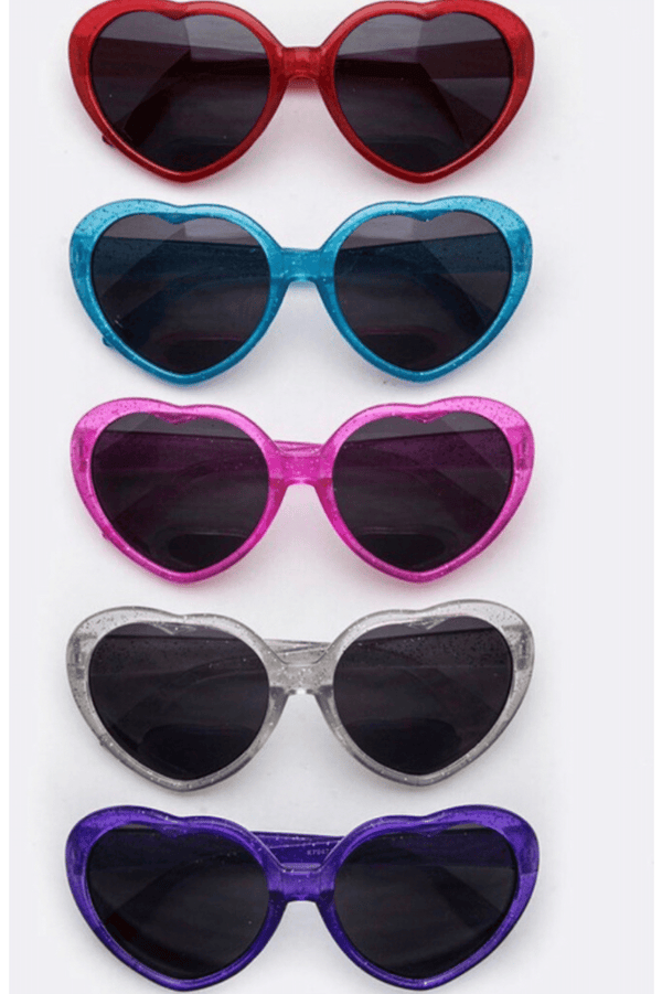 Kids Heart Shaped Glitter Sunglasses