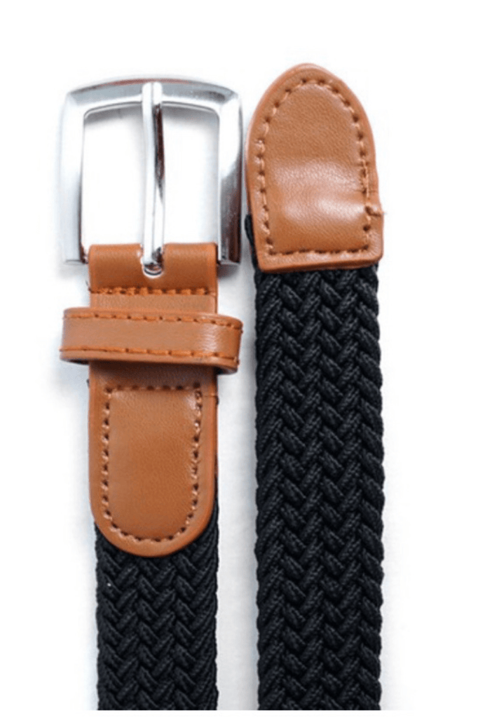 Kids Unisex Braided Stretch Belt - Black
