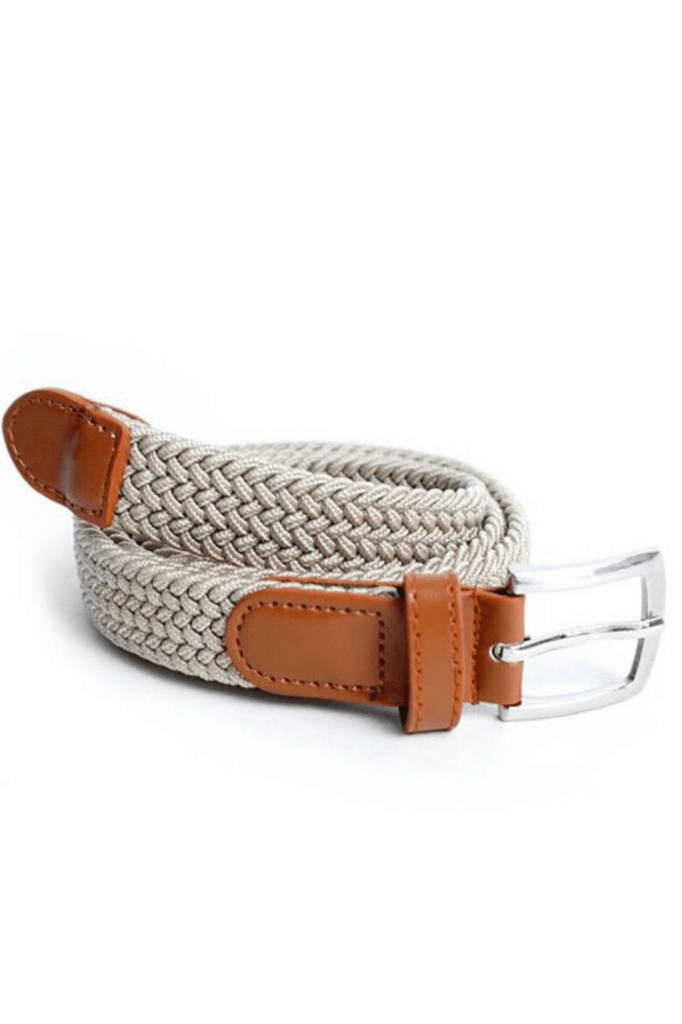 Kids Unisex Braided Stretch Belt - Cream