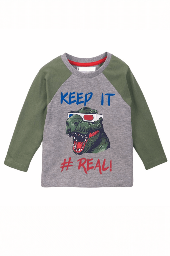 Long Sleeve Dinosaur Graphic Raglan Tee | Cliqq Clothing