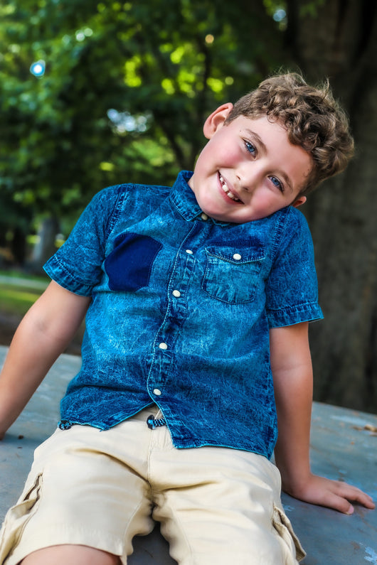 ACID WASH DENIM BOY SHIRT - MAX (3-8years) - Cliqq Clothing