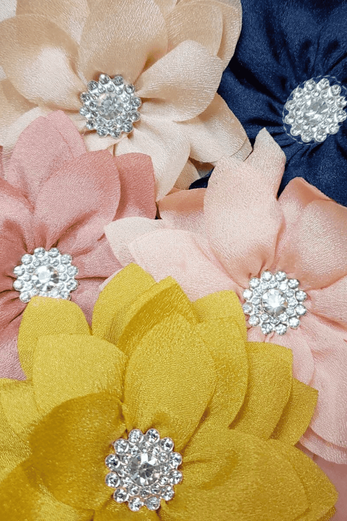 Medium Petal Rhinestone Centered Neutral Flower Hair Clips