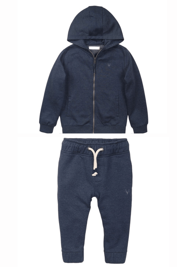 Navy Zip-up Sweatpants and Hoodie Set