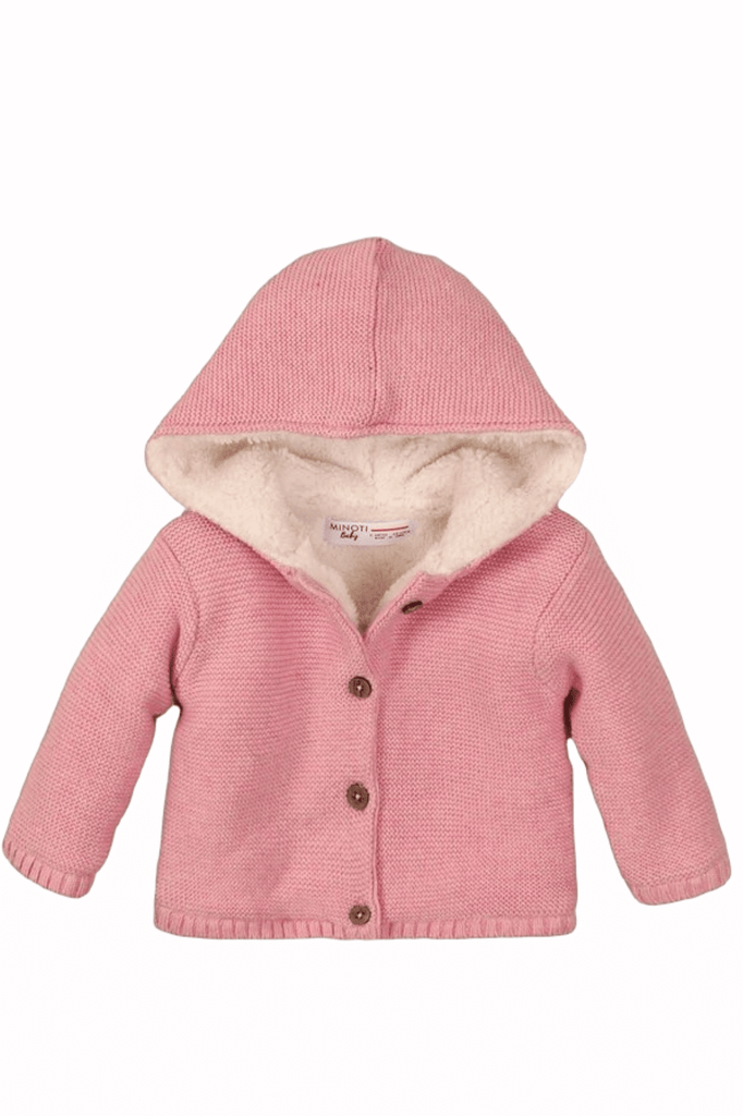 Pink Baby Girl Faux-Fur-Lined Hooded Sweater