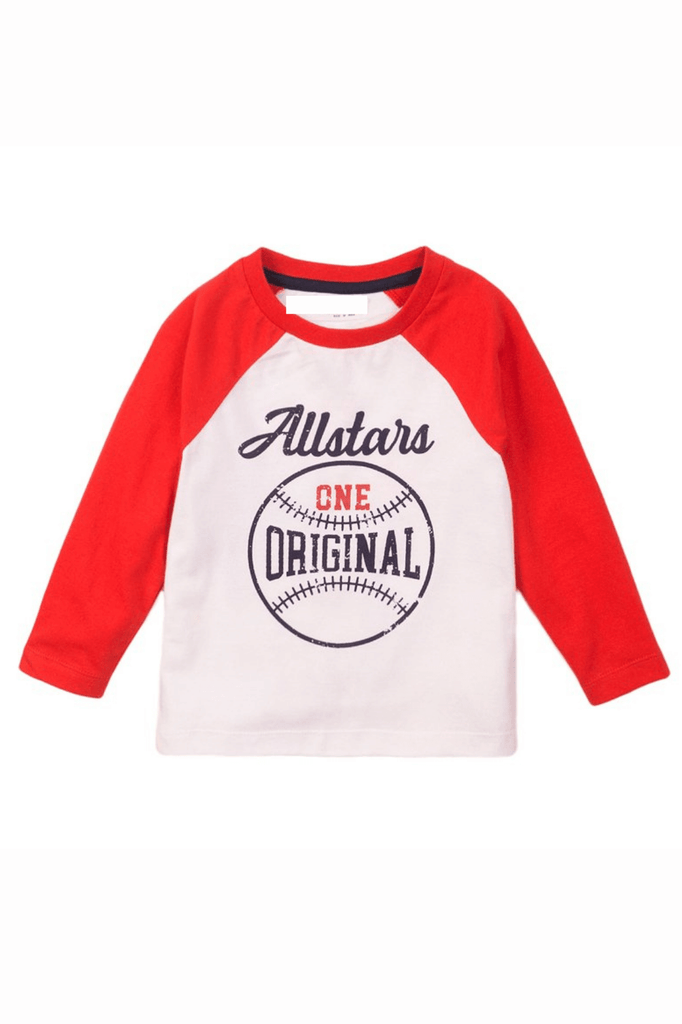 Toddler Boy Long Sleeve White All Stars Raglan Tee