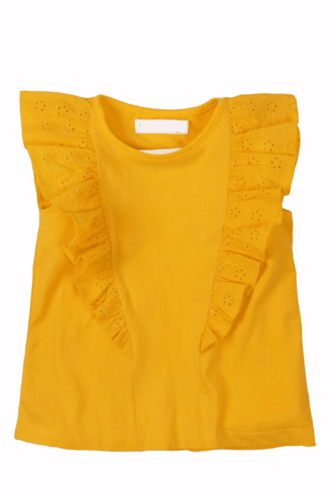 Toddler Girl Yellow Eyelet Ruffle  Sleeve Top