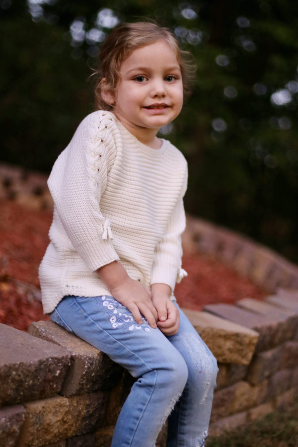 Lace-up Sleeve Sweater (Ivory)- ANGEL (12m-6years) - Cliqq Clothing