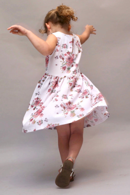 FLORAL JACQUARD TWIRL  DRESS - BELLE  (3-8 years) - Cliqq Clothing