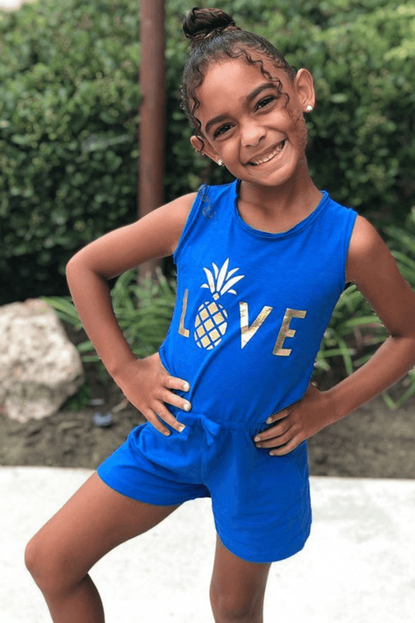 kids blue pineapple romper
