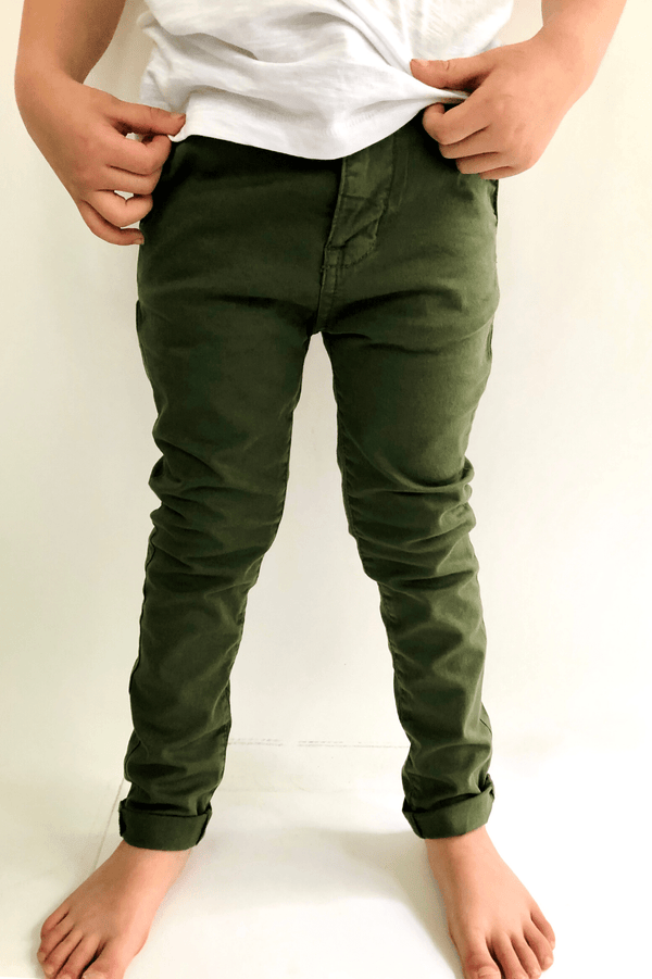 CHINO PANTS - SAFARI GREEN- FENTON (3-8YEARS) - Cliqq Clothing