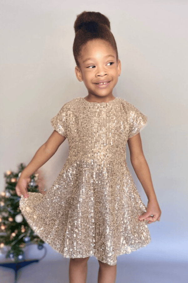 GOLD SEQUIN TWIRL DRESS -EVA (3-8Years) - Cliqq Clothing