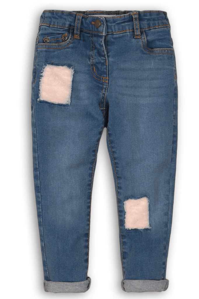 DISTRESSED JEANS WITH PINK FAUX-FUR DETAIL- MAYA (3-8years) - Cliqq Clothing