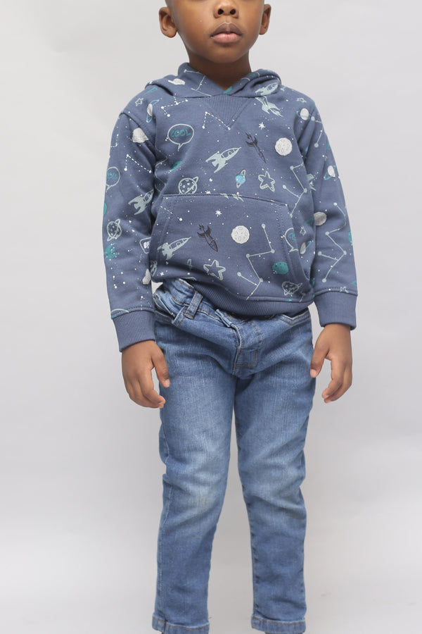 GALAXY SPACE BOY HOODIE- (9m-3T) - Cliqq Clothing