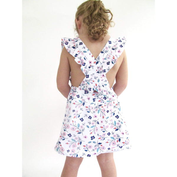Girl Floral Cross-Back Dress-  Olivia (1-4T) - Cliqq Clothing