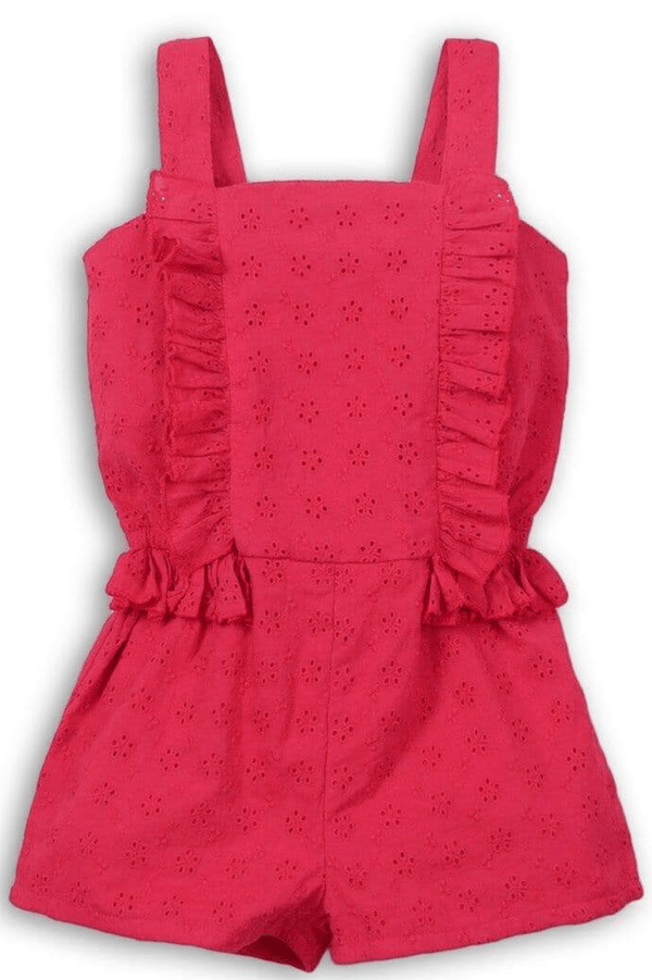 Girl Pink Broderie playsuit - Mia | 9m-8years - Cliqq Clothing