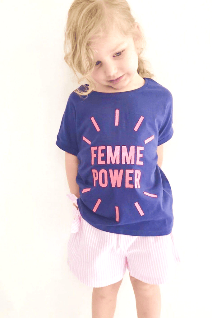 Slogan Girl Tee- Femme Power Top (3-8years) - Cliqq Clothing