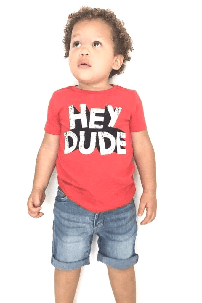 GRAPHIC TEE 'HEY DUDE' -FOX (9M-3T) - Cliqq Clothing
