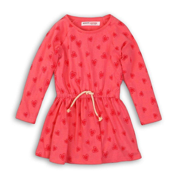 Infant and Toddler Cozy Long Sleeve Red Hearts Dress