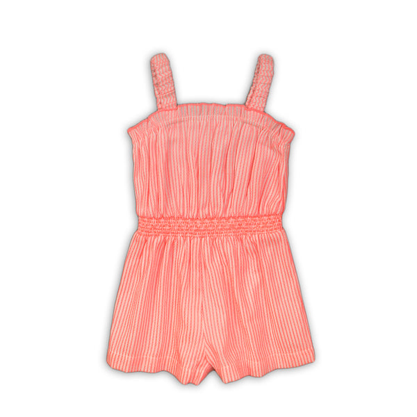 Girls Stripe Neon Embroidered Romper  (9m-8yrs)