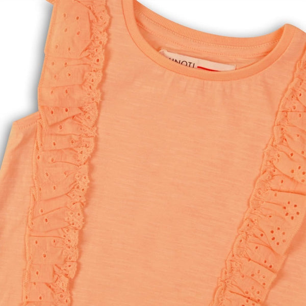 Toddler Girl Peach Eyelet Ruffle Sleeve Top
