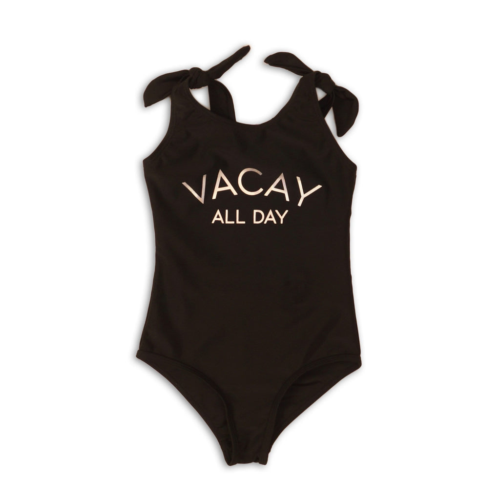 Black Vacay All Day Toddler Girl Swimsuit