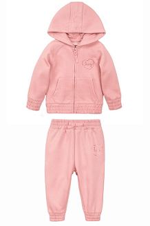 Infant and Toddler Fleece Zip Hoodie & Jogger Pants Set- Blush Pink
