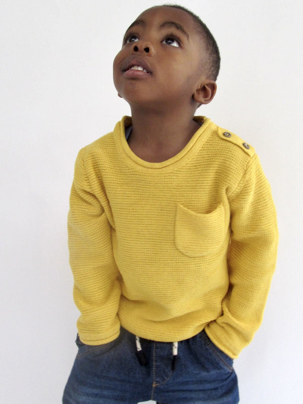 UNISEX MUSTARD KNIT SWEATER -LEO (9months-3T) - Cliqq Clothing