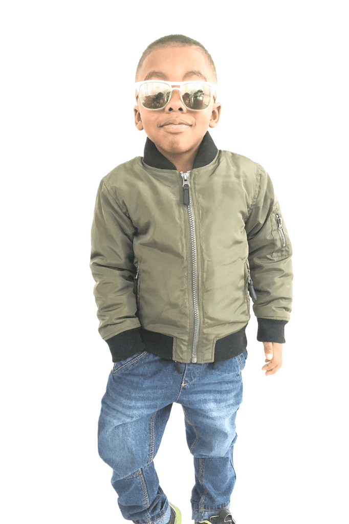 Boys Khaki Bomber Jacket - Cliqq Clothing