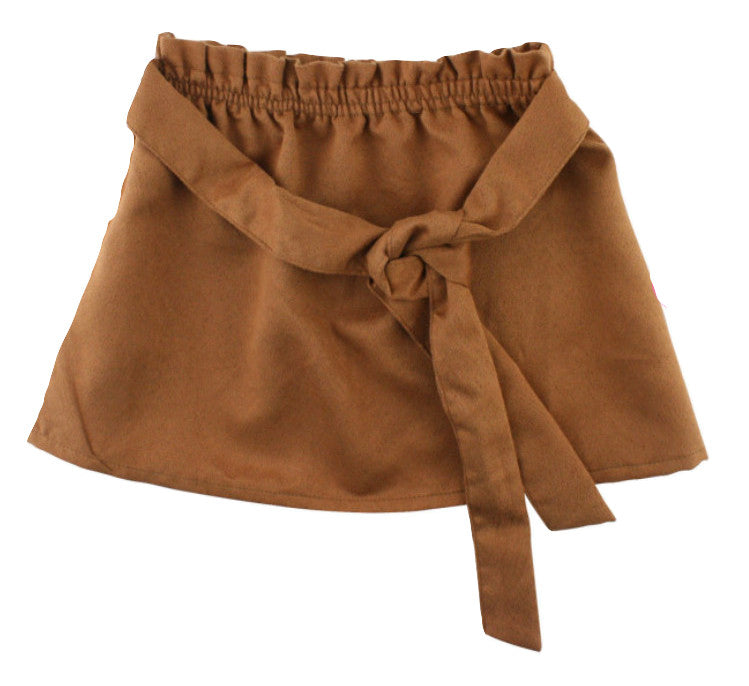 TAN SUEDE PAPER-BAG SKIRT - MO (12m-7years) - Cliqq Clothing